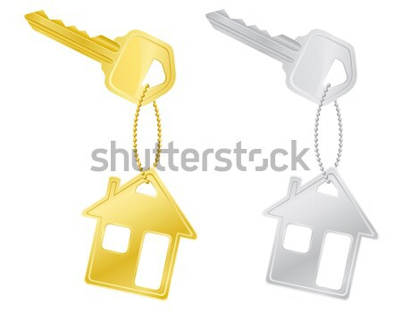 Foto stock: Casa · chave · porta · trancar · isolado · branco