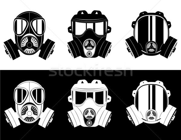Iconen gasmasker zwart wit geïsoleerd witte veiligheid Stockfoto © konturvid
