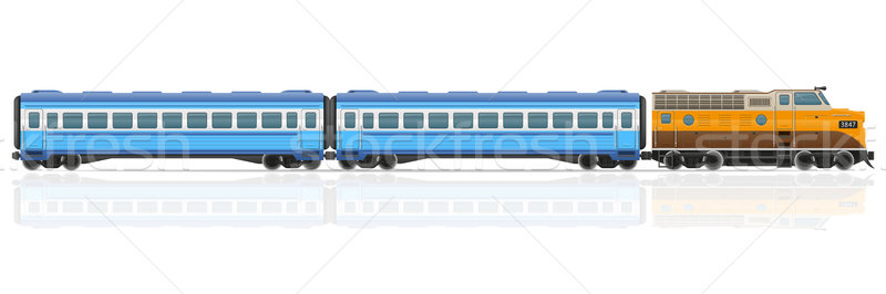 railway train with locomotive and wagons vector illustration Stock photo © konturvid