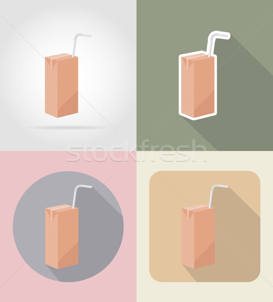 juice packaging drink and objects flat icons vector illustration Stock photo © konturvid