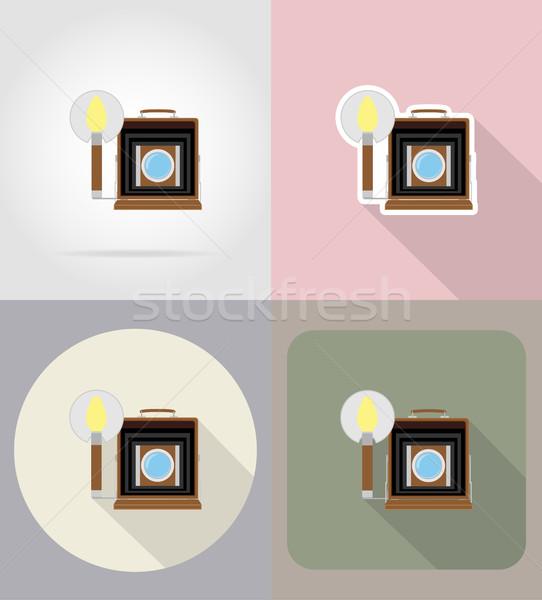 old retro vintage photo camera flat icons vector illustration Stock photo © konturvid
