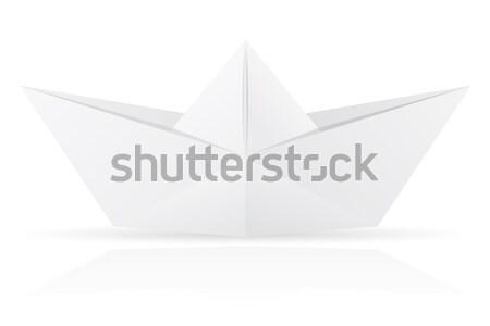 origami paper boat vector illustration Stock photo © konturvid