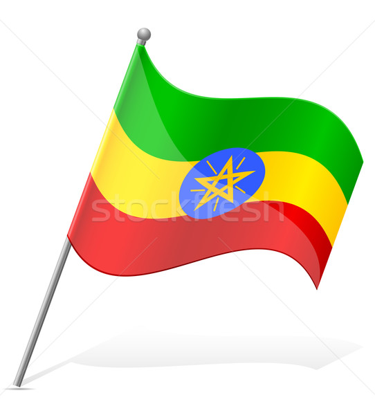 Stockfoto: Vlag · Ethiopië · geïsoleerd · witte · wereldbol · wereld