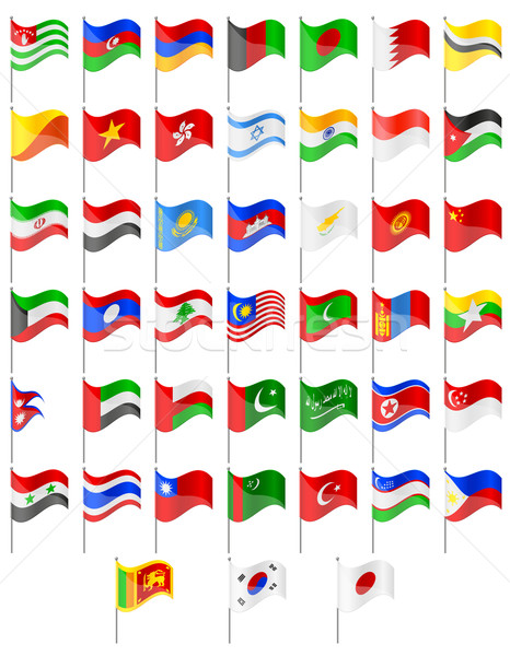 flags of Asia countries vector illustration Stock photo © konturvid