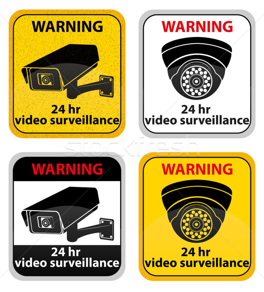 video surveillance warning sign vector illustration Stock photo © konturvid