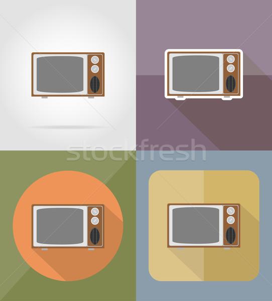 old retro tv flat icons vector illustration Stock photo © konturvid
