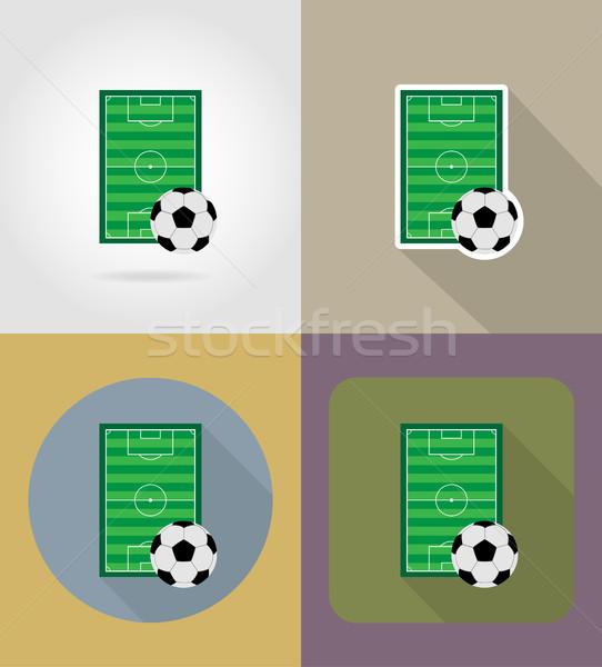 Stock fotó: Futball · futball · mező · ikonok · izolált · számítógép