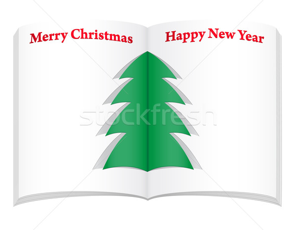 blank notebook with christmas and new year tree vector illustrat Stock photo © konturvid