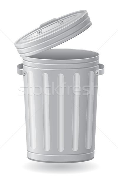 Mülleimer isoliert weiß Hintergrund Metall LKW Stock foto © konturvid