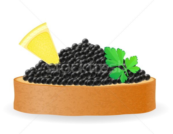 Sandwich noir caviar citron persil isolé Photo stock © konturvid