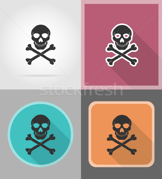 pirate skull and crossbones flat icons vector illustration Stock photo © konturvid