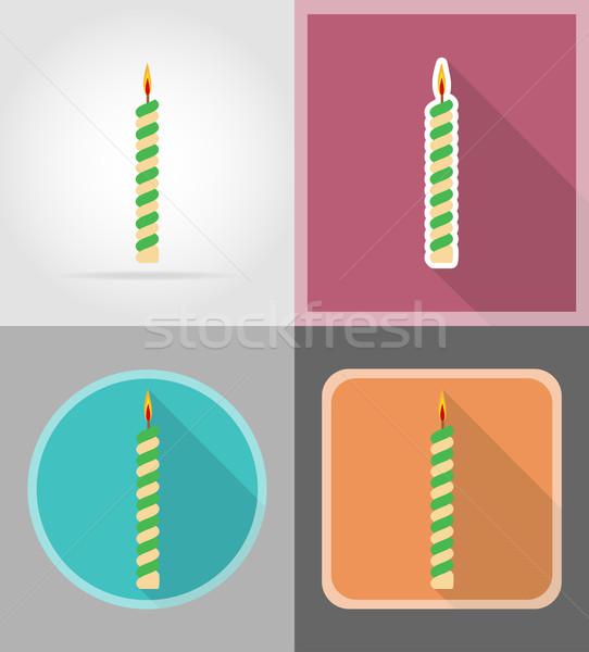 свечей именинный торт иконки изолированный школы рождения Сток-фото © konturvid