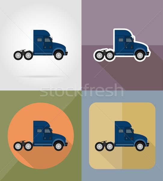 truck for transportation cargo flat icons vector illustration Stock photo © konturvid