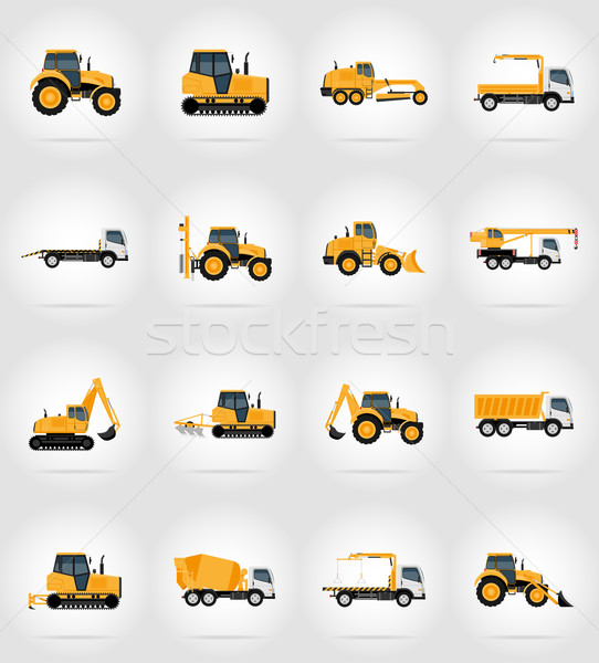 automobile transport for repair and construction flat icons vect Stock photo © konturvid