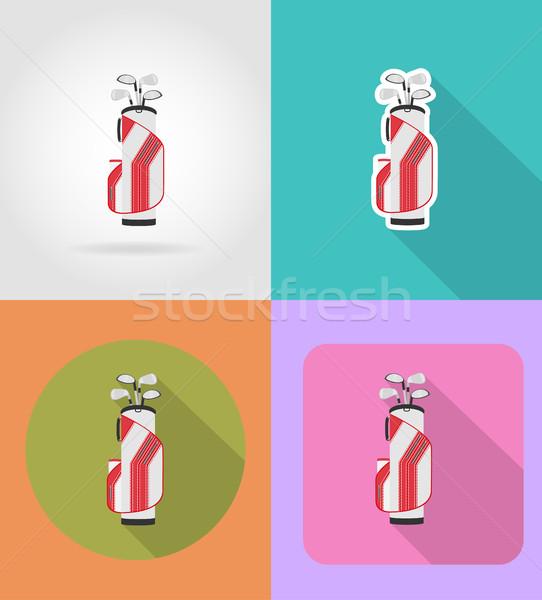 сумку гольф-клубов иконки изолированный гольф спорт Сток-фото © konturvid