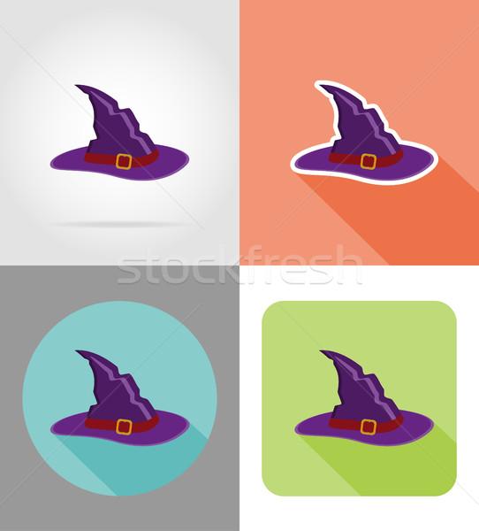 Halloween kapelusz czarownicy ikona odizolowany projektu jesienią Zdjęcia stock © konturvid
