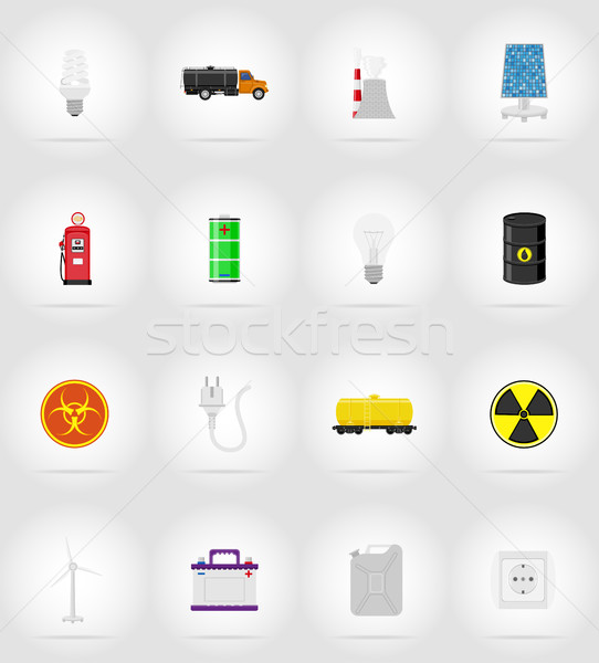 power and energy flat icons flat icons vector illustration Stock photo © konturvid