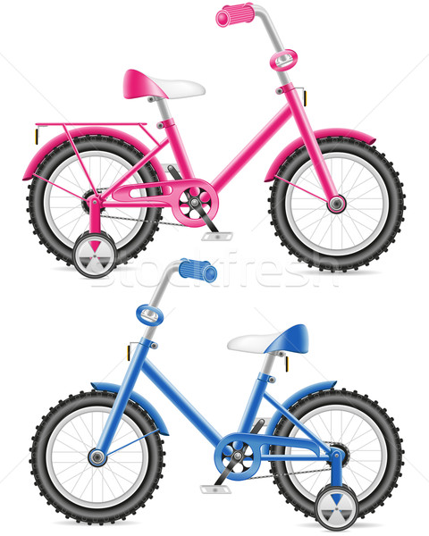 pink and blue kids bicycle vector illustration Stock photo © konturvid