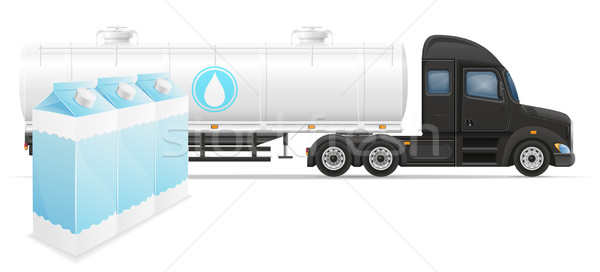 truck semi trailer delivery and transportation of milk concept v Stock photo © konturvid