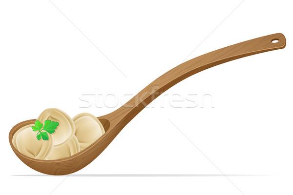 dumplings pelmeni of dough with a filling and greens in the spoo Stock photo © konturvid