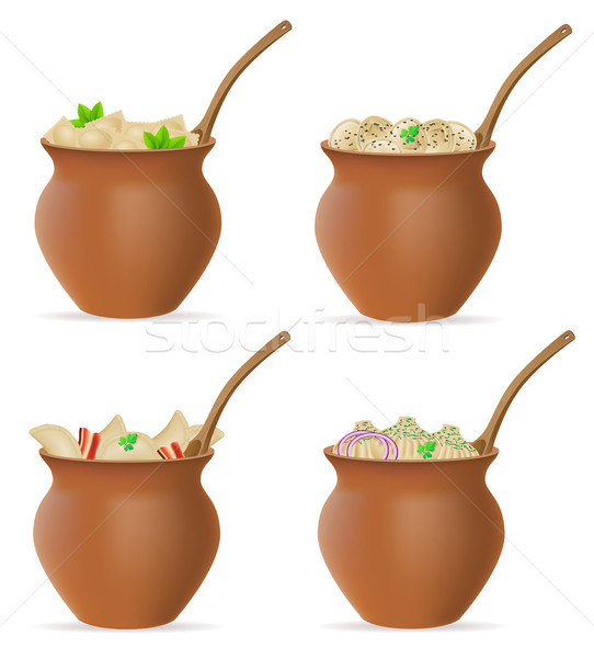 dumplings of dough with a filling and greens in clay pot set ico Stock photo © konturvid