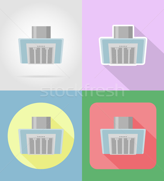 extract hood household appliances for kitchen flat icons vector  Stock photo © konturvid