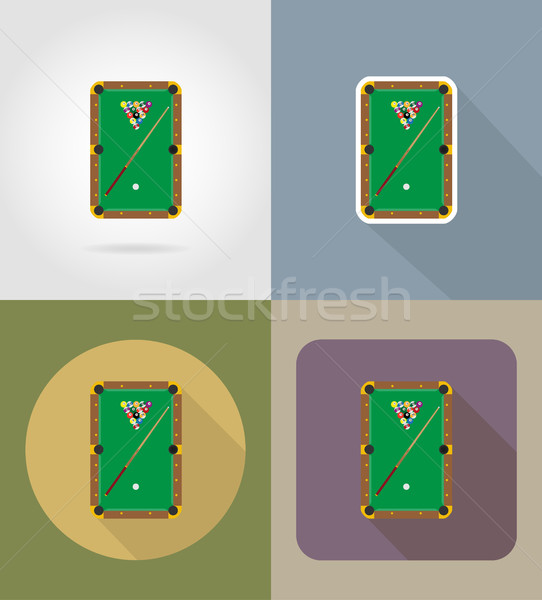 бильярд таблице иконки изолированный спорт зеленый Сток-фото © konturvid