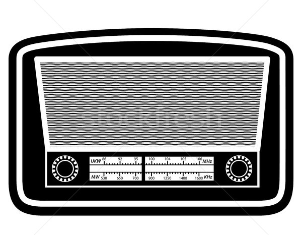 radio old retro vintage icon stock vector illustration black out Stock photo © konturvid