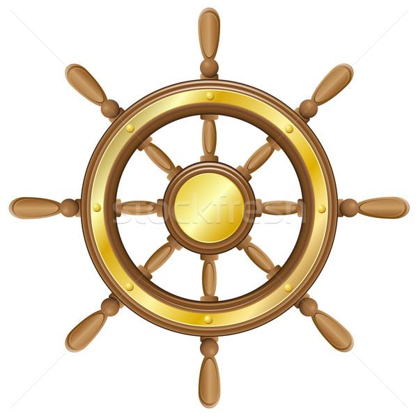 ハンドル 船 孤立した 白 ボート レトロな ストックフォト © konturvid