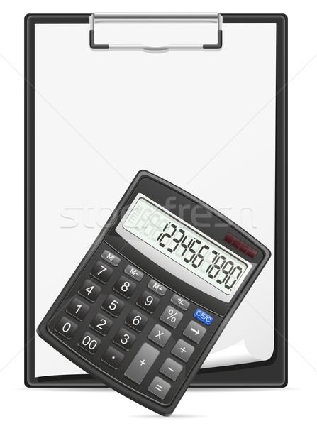 Kalkulator schowek arkusza papieru wektora Zdjęcia stock © konturvid