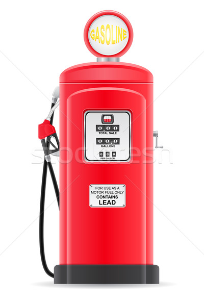 Vermelho gasolina enchimento velho retro isolado Foto stock © konturvid