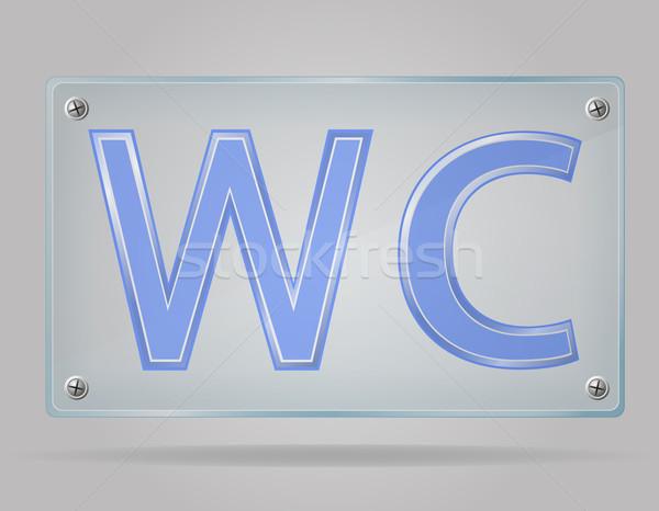 átlátszó felirat wc tányér izolált szürke Stock fotó © konturvid