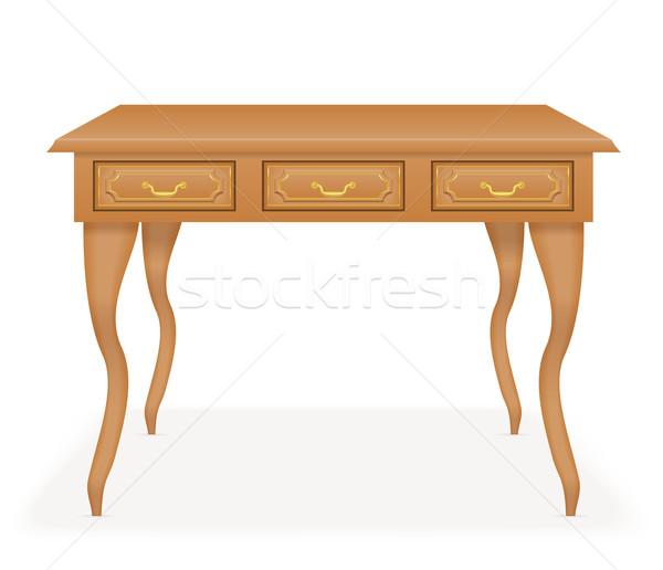 wooden table furniture vector illustration Stock photo © konturvid