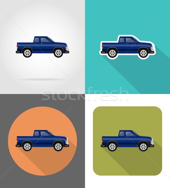 car pickup flat icons vector illustration Stock photo © konturvid
