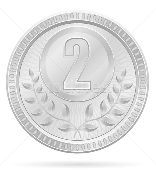 Foto stock: Medalha · vencedor · esportes · prata · estoque · isolado
