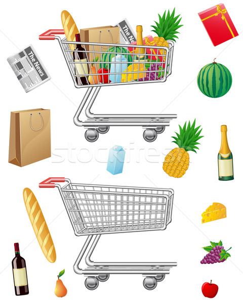 shopping cart with purchases and foods Stock photo © konturvid