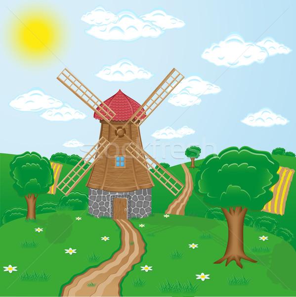 windmills against rural landscape Stock photo © konturvid