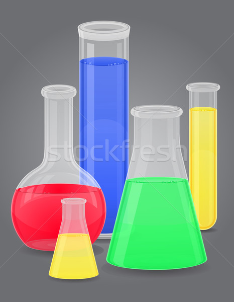 glass test tube with color liquid vector illustration Stock photo © konturvid