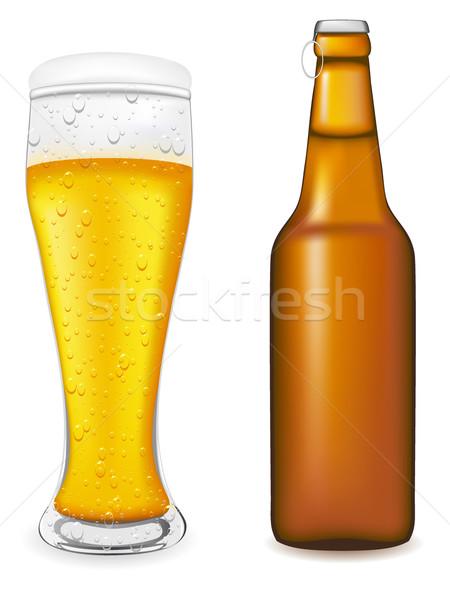 Stockfoto: Bier · glas · fles · geïsoleerd · witte · drinken