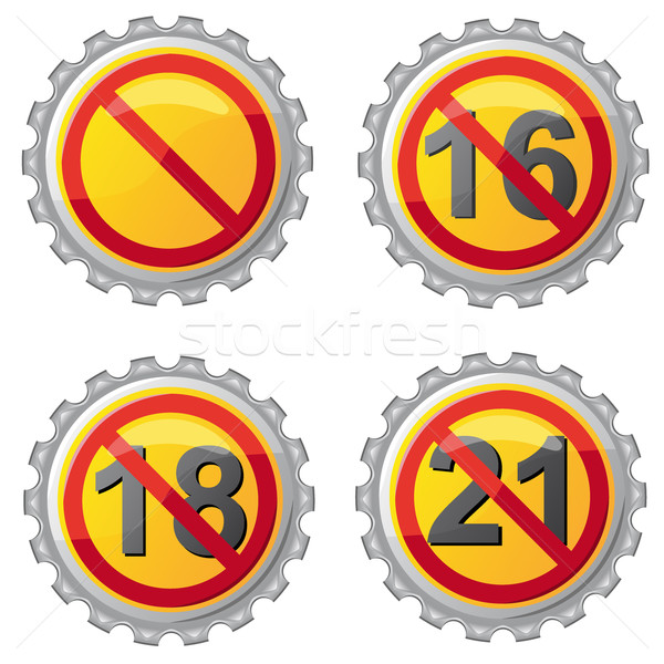 Stock photo: beer lids with prohibition on age vector illustration