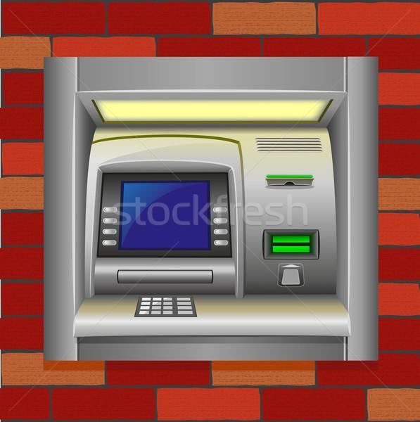 Atm murem ceny ściany technologii klawiatury Zdjęcia stock © konturvid
