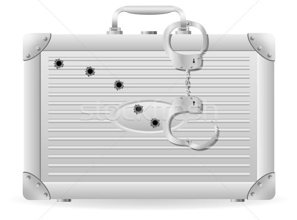 Metaal koffer handboeien kogels vector geïsoleerd Stockfoto © konturvid