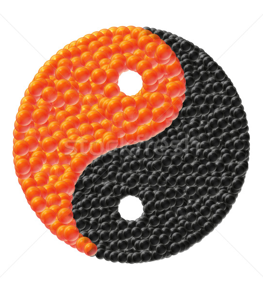 Stock photo: yin and yang made of caviar vector illustration