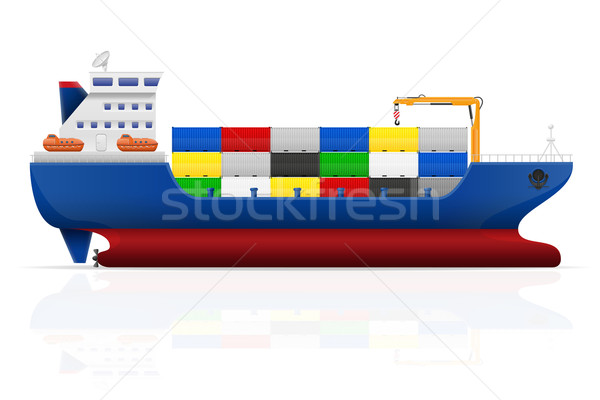 nautical cargo ship vector illustration Stock photo © konturvid