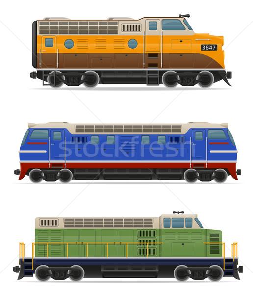 Icônes chemin de fer locomotive train isolé Photo stock © konturvid