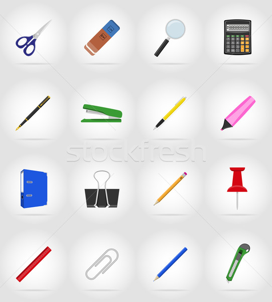 stationery equipment set flat icons vector illustration Stock photo © konturvid