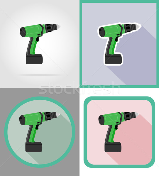 Stockfoto: Elektrische · boor · tools · bouw · reparatie · iconen