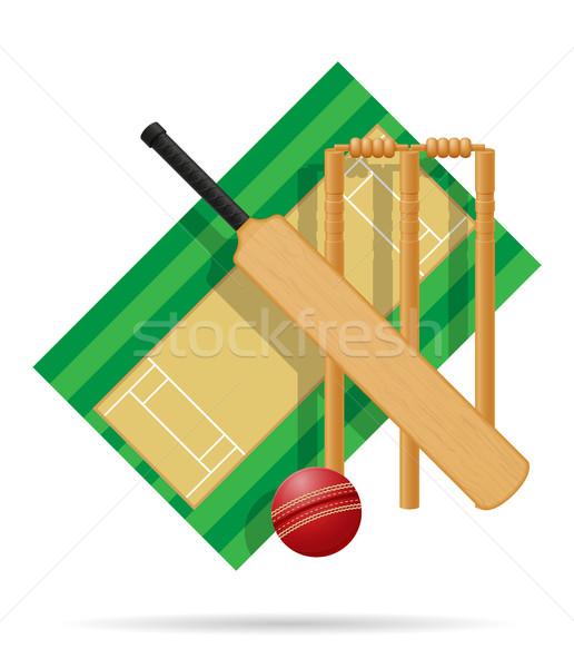 Recreio críquete isolado branco grama fitness Foto stock © konturvid