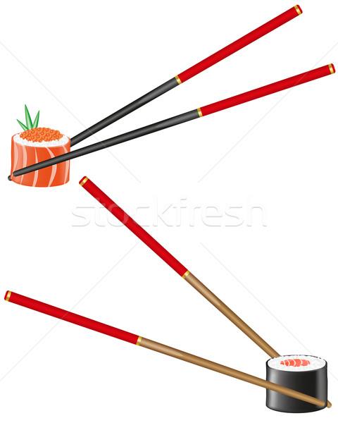 Stock photo: sushi and chopsticks vector illustration