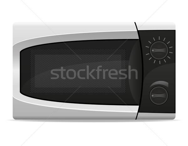 Magnetronoven oven mechanisch controle geïsoleerd witte Stockfoto © konturvid
